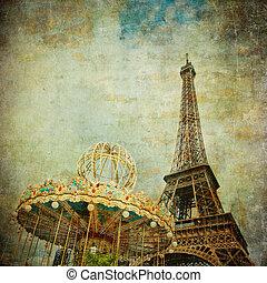 vendemmia, immagine, di, eiffel torreggia, parigi, francia