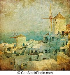 vendemmia, immagine, di, oia, villaggio, a, isola santorini,...