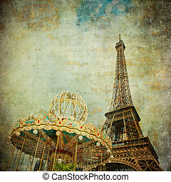 vendemmia, immagine, eiffel, parigi, francia, torre