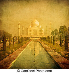 vendemmia, immagine, india, mahal, agra, taj