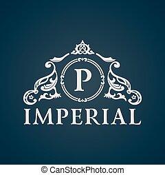 vendemmia, imperiale, arte, calligraphic, emblem.