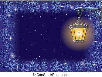 vendemmia, lampada, fiocchi neve, natale, card: