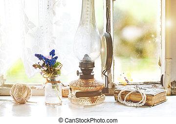 vendemmia, lampada, iterior, wildflowers, finestra