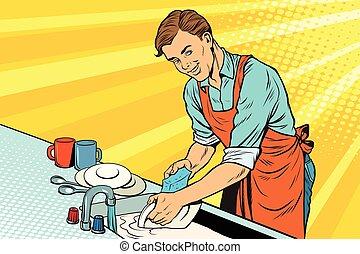 vendemmia, lavare, lavoratore, piatti