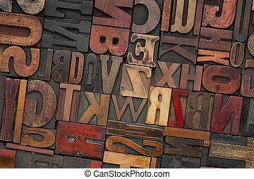 vendemmia, legno, tipo, letterpress