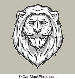 vendemmia, leone, testa, style., simbolo.