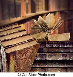 vendemmia, libri, in, biblioteca