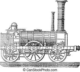 vendemmia, locomotiva, vapore, engraving.