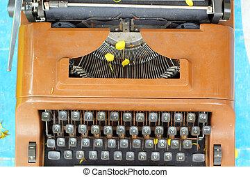 vendemmia, macchina scrivere