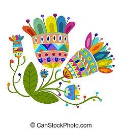 vendemmia, magia, fiori, schizzo, per, tuo, disegno
