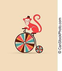 vendemmia, manifesto, con, scimmia, su, unicycle, divertente...