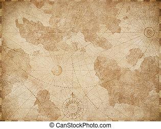 vendemmia, mappa, vecchio, fondo, astratto, nautico