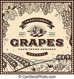 vendemmia, marrone, uva, etichetta