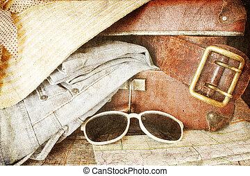 vendemmia, marrone, valigia