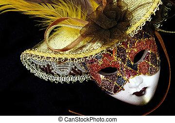 vendemmia, maschera carnevale, su, sfondo nero