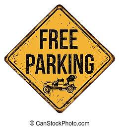 vendemmia, metallo, libero, segno, arrugginito, parcheggio