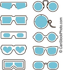 vendemmia, moderno, collezione, occhiali