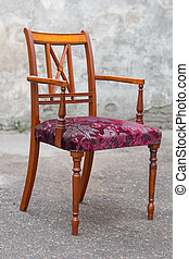 vendemmia, mogano, sedia, isolato, bianco, fondo