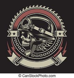 vendemmia, motociclista, cranio, emblema