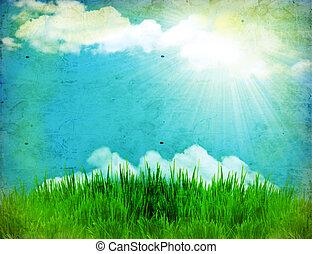 vendemmia, natura, fondo, con, erba verde, e, sole