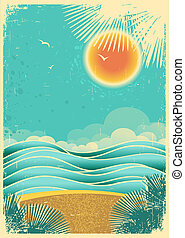 vendemmia, natura, tropicale, marina, fondo, con, luce sole,...