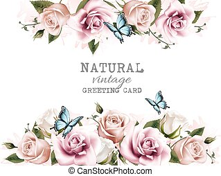 vendemmia, naturale, vector., fondo, roses.
