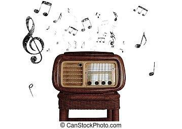 vendemmia, note musica, con, vecchio, radio