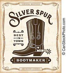 vendemmia, occidentale, bootmaker, etichetta, grafica