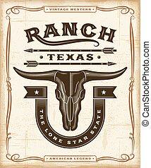 vendemmia, occidentale, ranch, etichetta, grafica