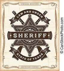 vendemmia, occidentale, sceriffo, etichetta, grafica