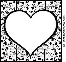 vendemmia, ornamento, cuore