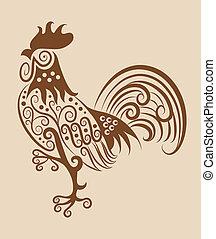 vendemmia, ornamento, gallo