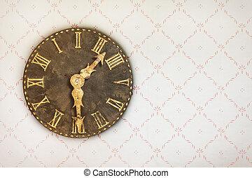 vendemmia, orologio, su, uno, parete, con, retro, carta da parati