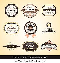 vendemmia, panetteria, logotipo, etichette, e, cornici