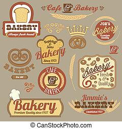 vendemmia, panetteria, retro, tesserati magnetici, logotipo
