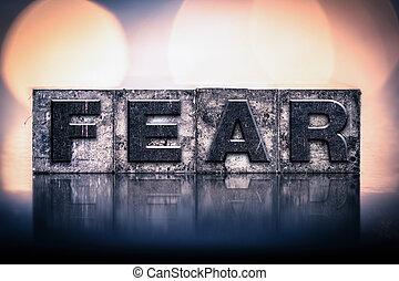vendemmia, paura, concetto, tipo, letterpress