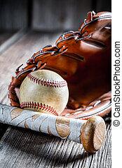 vendemmia, pipistrello baseball, e, guanto, con, palla