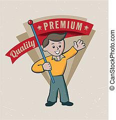 vendemmia, premio, retro, qualità, etichetta