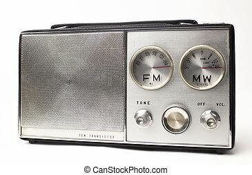 vendemmia,  radio, portatile, argento