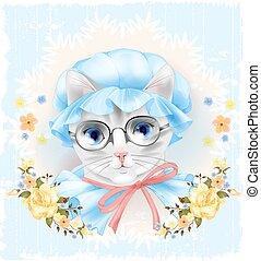 vendemmia, ritratto, di, il, gatto, con, occhiali, e, roses., stile vittoriano