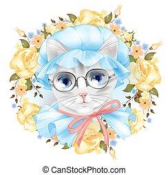 vendemmia, ritratto, di, il, gatto, con, occhiali, e, roses., vittoriano, style.