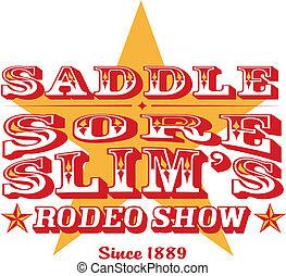 vendemmia, rodeo, cowboy, retro, segno