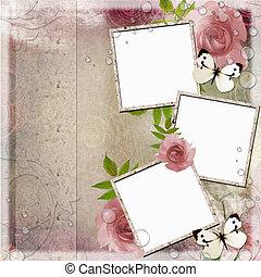 vendemmia, rosa, e, sfondo verde, con, cornici, e, rose, (, 1, di