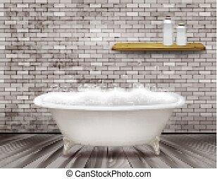 vendemmia, schiuma, illustrazione, vettore, lusso, bathroom., vasca bagno, sapone