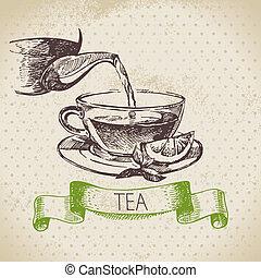 vendemmia, schizzo, illustration., tè, mano, fondo., disegno, menu, disegnato
