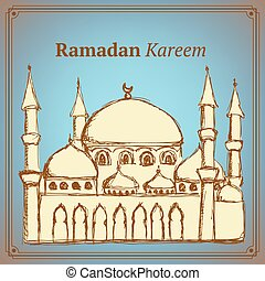 vendemmia, schizzo, moschea, stile, islamico