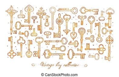 vendemmia, schizzo, oro, bianco, chiavi, scarabocchiare, composizione, illustration., fondo.