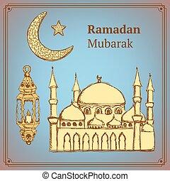 vendemmia, schizzo, stile, simbolo, ramadan