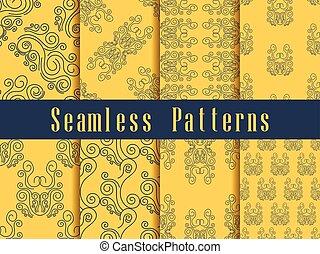 vendemmia, seamless, modello, set., barocco, ornament., oro, colour., vettore, illustrazione