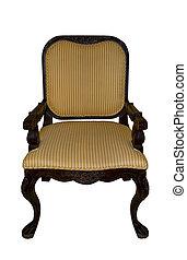 vendemmia, sedia, bianco, isolato
